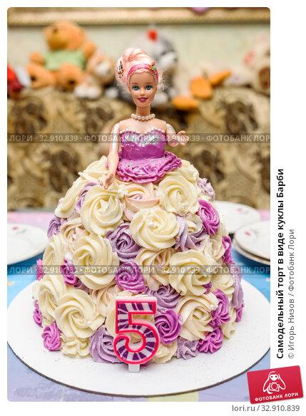 Купить «Самодельный торт в виде куклы Барби», фото № 32910839, снято 5 октября 2019 г. (c) Игорь Низов / Фотобанк Лори