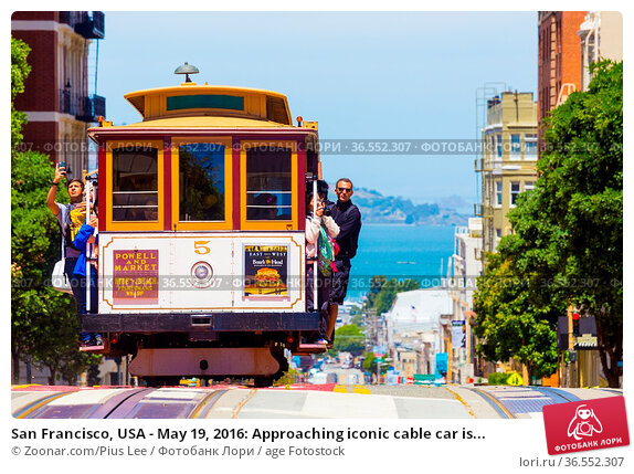 San Francisco, USA - May 19, 2016: Approaching iconic cable car is... Стоковое фото, фотограф Zoonar.com/Pius Lee / age Fotostock / Фотобанк Лори