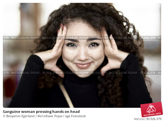 Купить «Sanguine woman pressing hands on head», фото № 30926379, снято 6 мая 2019 г. (c) age Fotostock / Фотобанк Лори
