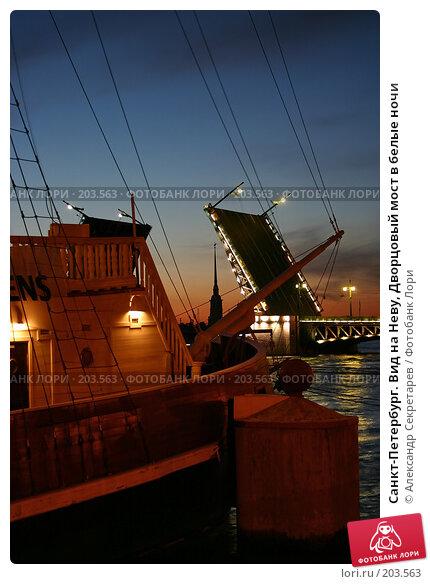 Санкт-Петербург. Вид на Неву, Дворцовый мост в белые ночи, фото № 203563, снято 10 июня 2005 г. (c) Александр Секретарев / Фотобанк Лори
