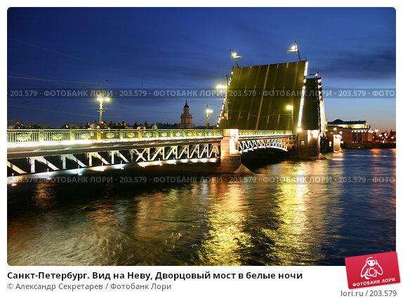 Санкт-Петербург. Вид на Неву, Дворцовый мост в белые ночи, фото № 203579, снято 10 июня 2005 г. (c) Александр Секретарев / Фотобанк Лори