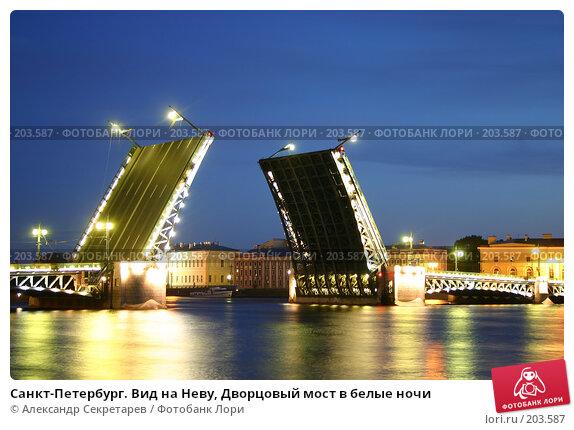 Санкт-Петербург. Вид на Неву, Дворцовый мост в белые ночи, фото № 203587, снято 10 июня 2005 г. (c) Александр Секретарев / Фотобанк Лори