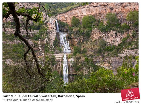 Купить «Sant Miquel del Fai with waterfall, Barcelona, Spain», фото № 29592243, снято 5 мая 2018 г. (c) Яков Филимонов / Фотобанк Лори