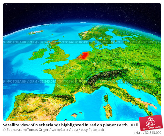 Купить «Satellite view of Netherlands highlighted in red on planet Earth. 3D illustration. Elements of this image furnished by NASA.», фото № 32543099, снято 16 декабря 2019 г. (c) easy Fotostock / Фотобанк Лори