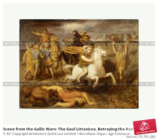 Купить «Scene from the Gallic Wars: The Gaul Littavicus, Betraying the Roman Cause, Flees to Gergovie to Support Vercingétorix, ca. 1838–40, Oil on canvas,...», фото № 31751283, снято 18 июня 2017 г. (c) age Fotostock / Фотобанк Лори
