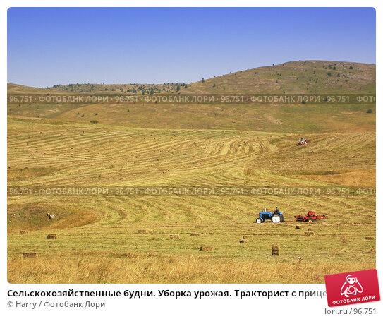 Купить «Сельскохозяйственные будни. Уборка урожая. Тракторист с прицепом на поле.», фото № 96751, снято 24 августа 2007 г. (c) Harry / Фотобанк Лори