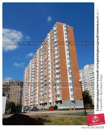 Семнаднадцатиэтажный четырёхподъездный панельный жилой дом серии П-44Т, построен в 2007 году. Смольная улица, 51, корпус 2. Район Левобережный. Москва, эксклюзивное фото № 26754819, снято 10 августа 2017 г. (c) lana1501 / Фотобанк Лори