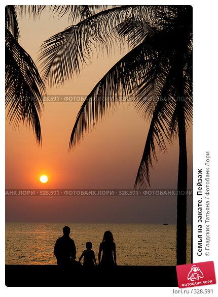 Семья на закате. Пейзаж, фото № 328591, снято 28 июля 2017 г. (c) Гладских Татьяна / Фотобанк Лори