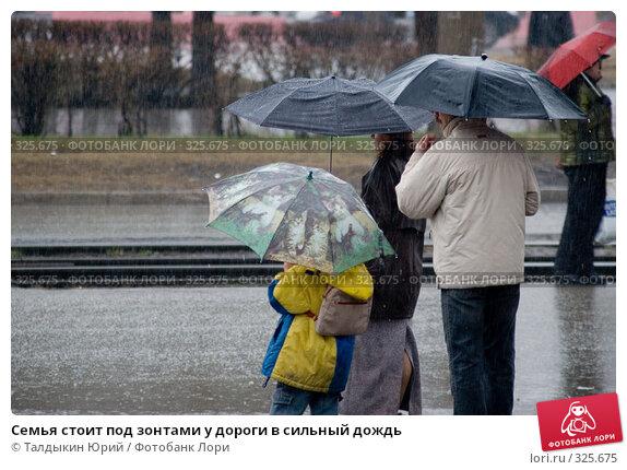 Семья стоит под зонтами у дороги в сильный дождь, фото № 325675, снято 20 апреля 2007 г. (c) Талдыкин Юрий / Фотобанк Лори