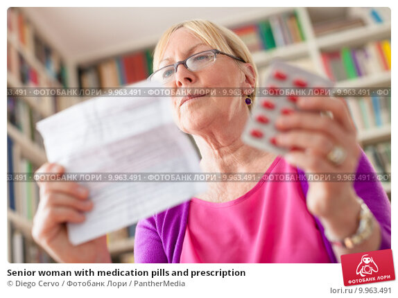 Купить «Senior woman with medication pills and prescription», фото № 9963491, снято 18 марта 2019 г. (c) PantherMedia / Фотобанк Лори