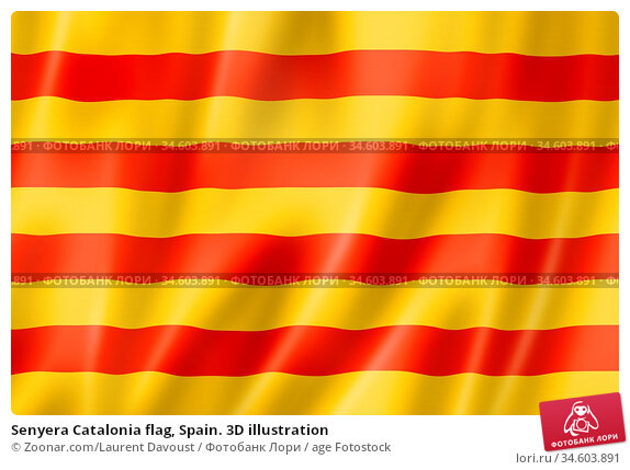 Senyera Catalonia flag, Spain. 3D illustration. Стоковое фото, фотограф Zoonar.com/Laurent Davoust / age Fotostock / Фотобанк Лори