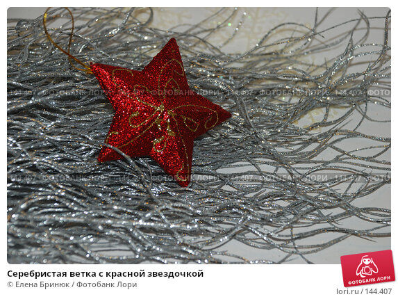 Серебристая ветка с красной звездочкой, фото № 144407, снято 10 декабря 2007 г. (c) Елена Бринюк / Фотобанк Лори