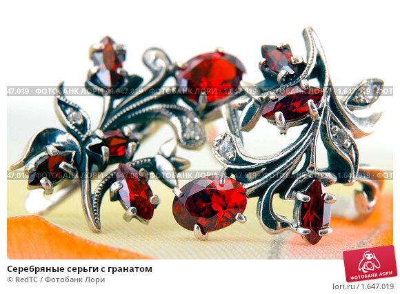 Купить «Серебряные серьги с гранатом», фото № 1647019, снято 20 апреля 2010 г. (c) RedTC / Фотобанк Лори
