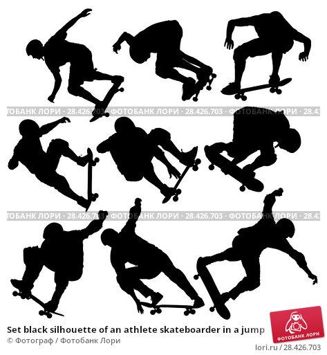 Купить «Set black silhouette of an athlete skateboarder in a jump», иллюстрация № 28426703 (c) Фотограф / Фотобанк Лори