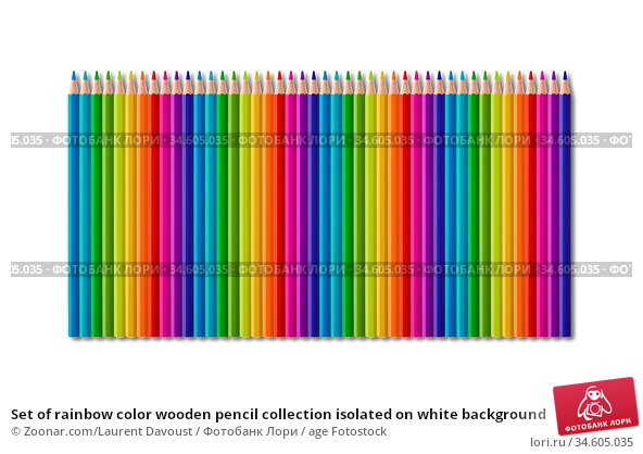 Set of rainbow color wooden pencil collection isolated on white background. Стоковое фото, фотограф Zoonar.com/Laurent Davoust / age Fotostock / Фотобанк Лори