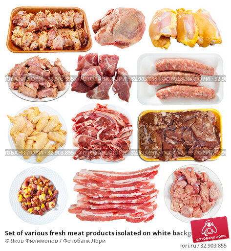 Set of various fresh meat products isolated on white background. Стоковое фото, фотограф Яков Филимонов / Фотобанк Лори