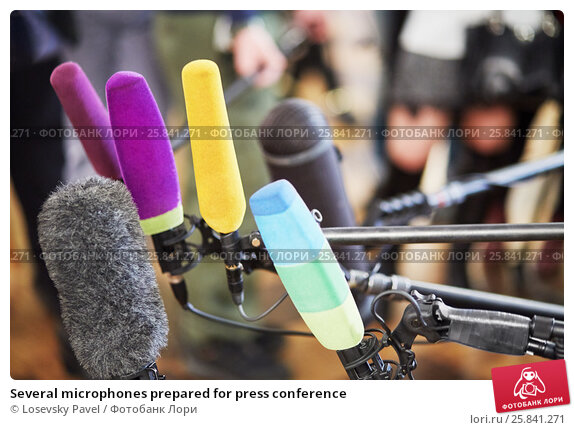 Купить «Several microphones prepared for press conference», фото № 25841271, снято 15 января 2015 г. (c) Losevsky Pavel / Фотобанк Лори