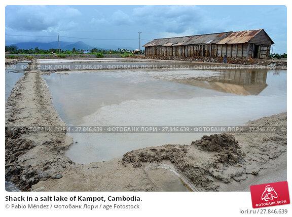 Купить «Shack in a salt lake of Kampot, Cambodia.», фото № 27846639, снято 6 июля 2017 г. (c) age Fotostock / Фотобанк Лори