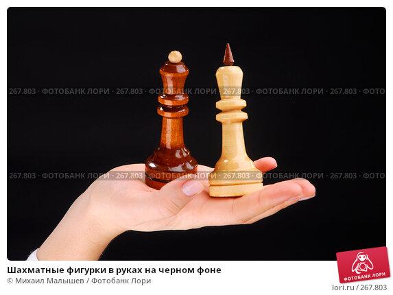 Шахматные фигурки в руках на черном фоне, фото № 267803, снято 8 февраля 2008 г. (c) Михаил Малышев / Фотобанк Лори