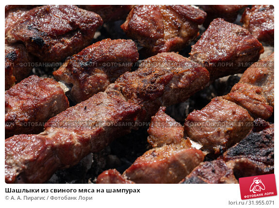 Купить «Шашлыки из свиного мяса на шампурах», фото № 31955071, снято 14 июля 2019 г. (c) А. А. Пирагис / Фотобанк Лори