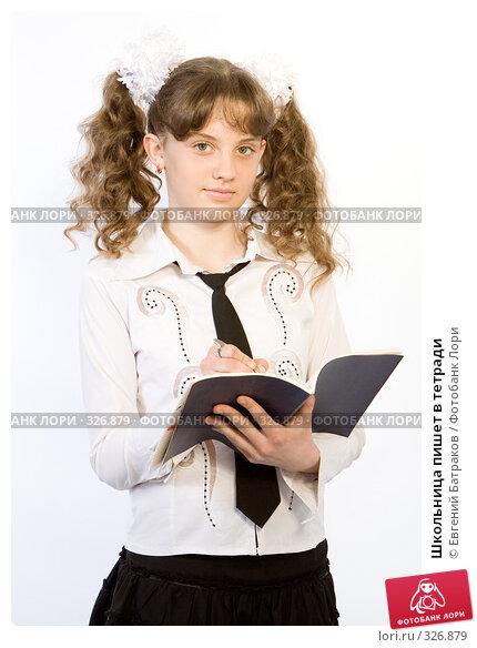 Купить «Школьница пишет в тетради», фото № 326879, снято 23 марта 2008 г. (c) Евгений Батраков / Фотобанк Лори