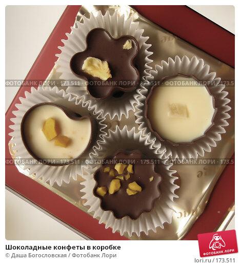 Шоколадные конфеты в коробке, фото № 173511, снято 30 декабря 2007 г. (c) Даша Богословская / Фотобанк Лори