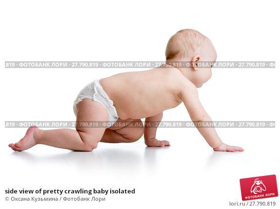 Купить «side view of pretty crawling baby isolated», фото № 27790819, снято 18 февраля 2018 г. (c) Оксана Кузьмина / Фотобанк Лори
