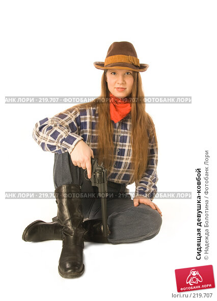 Сидящая девушка-ковбой, фото № 219707, снято 12 февраля 2008 г. (c) Надежда Болотина / Фотобанк Лори