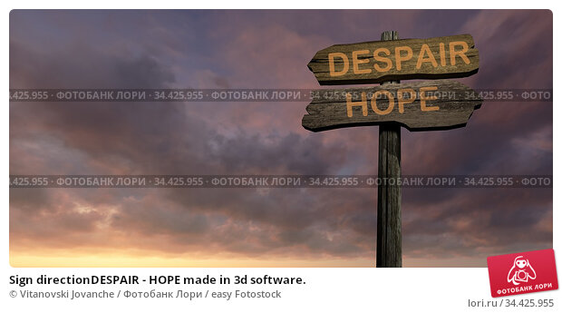 Sign directionDESPAIR - HOPE made in 3d software. Стоковое фото, фотограф Vitanovski Jovanche / easy Fotostock / Фотобанк Лори