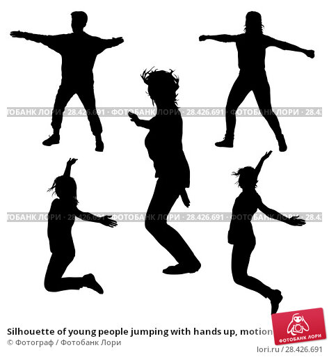 Купить «Silhouette of young people jumping with hands up, motion», иллюстрация № 28426691 (c) Фотограф / Фотобанк Лори