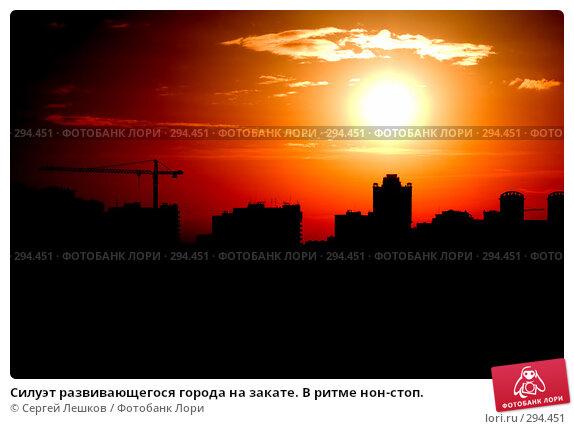 Силуэт развивающегося города на закате. В ритме нон-стоп., фото № 294451, снято 9 марта 2008 г. (c) Сергей Лешков / Фотобанк Лори
