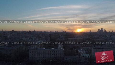 Купить «Силуэты Москвы. Вид с коптера», видеоролик № 22236819, снято 25 апреля 2019 г. (c) kinocopter / Фотобанк Лори