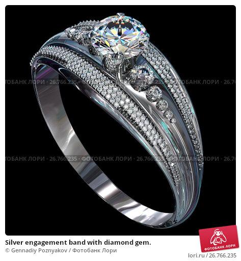 Купить «Silver engagement band with diamond gem.», иллюстрация № 26766235 (c) Gennadiy Poznyakov / Фотобанк Лори