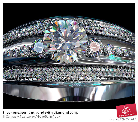 Купить «Silver engagement band with diamond gem.», иллюстрация № 26766247 (c) Gennadiy Poznyakov / Фотобанк Лори
