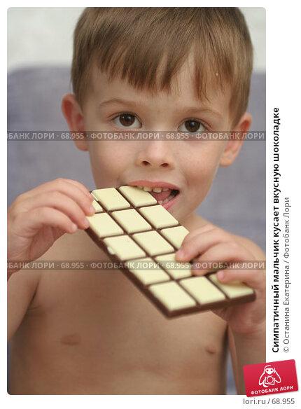 Симпатичный мальчик кусает вкусную шоколадке, фото № 68955, снято 5 августа 2007 г. (c) Останина Екатерина / Фотобанк Лори
