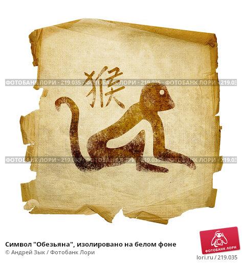 """Символ """"Обезьяна"""", изолировано на белом фоне, иллюстрация № 219035 (c) Андрей Зык / Фотобанк Лори"""
