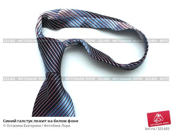 Синий галстук лежит на белом фоне, фото № 323603, снято 3 апреля 2008 г. (c) Останина Екатерина / Фотобанк Лори