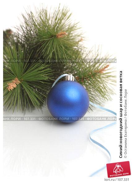 Синий новогодний шар и сосновая ветка, фото № 107331, снято 31 октября 2007 г. (c) Останина Екатерина / Фотобанк Лори
