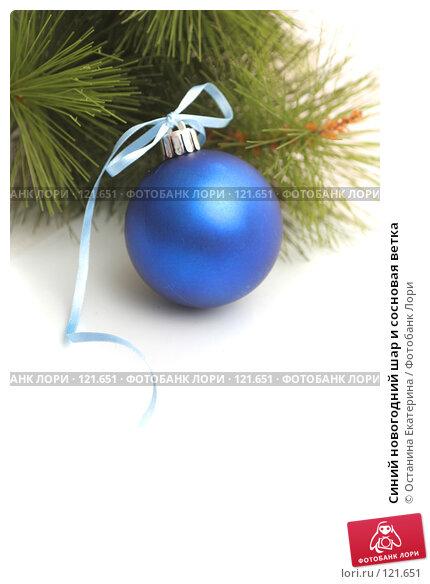 Синий новогодний шар и сосновая ветка, фото № 121651, снято 31 октября 2007 г. (c) Останина Екатерина / Фотобанк Лори