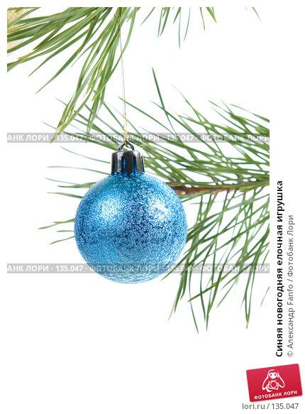 Синяя новогодняя елочная игрушка, фото № 135047, снято 20 января 2017 г. (c) Александр Fanfo / Фотобанк Лори