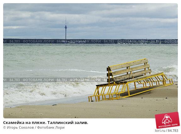 Скамейка на пляже. Таллинский залив., фото № 84783, снято 27 апреля 2017 г. (c) Игорь Соколов / Фотобанк Лори