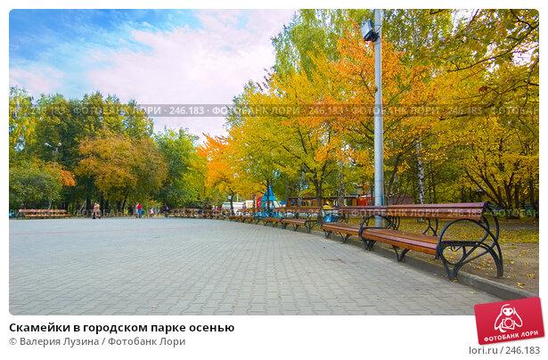 Скамейки в городском парке осенью, фото № 246183, снято 22 сентября 2007 г. (c) Валерия Потапова / Фотобанк Лори