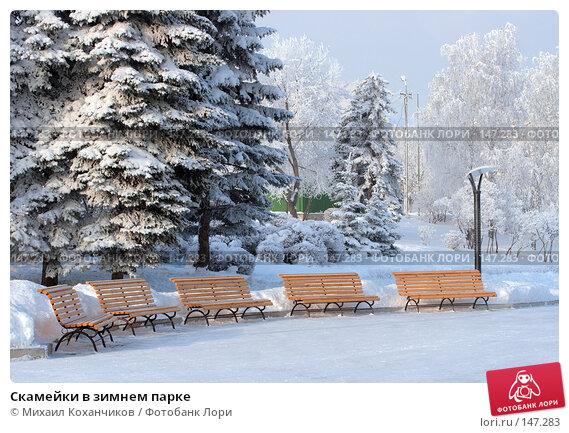 Скамейки в зимнем парке, фото № 147283, снято 12 декабря 2007 г. (c) Михаил Коханчиков / Фотобанк Лори