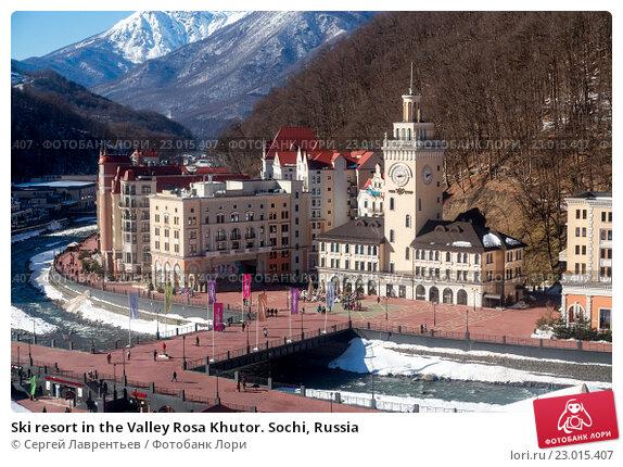 Купить «Ski resort in the Valley Rosa Khutor. Sochi, Russia», фото № 23015407, снято 10 февраля 2016 г. (c) Сергей Лаврентьев / Фотобанк Лори