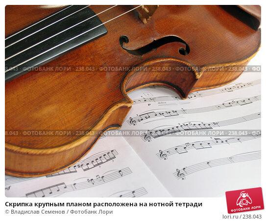 Купить «Скрипка крупным планом расположена на нотной тетради», фото № 238043, снято 23 марта 2008 г. (c) Владислав Семенов / Фотобанк Лори