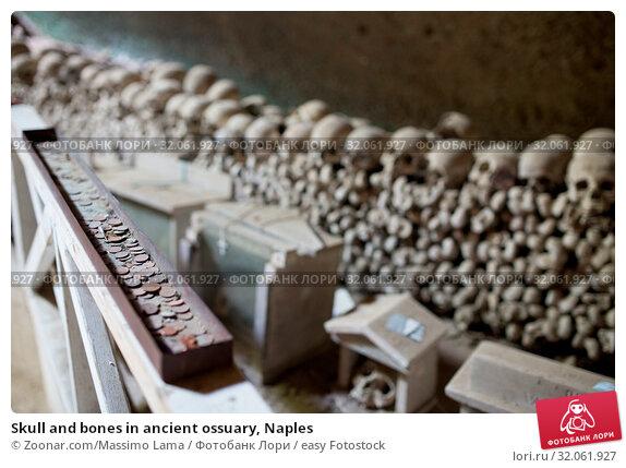 Skull and bones in ancient ossuary, Naples. Стоковое фото, фотограф Zoonar.com/Massimo Lama / easy Fotostock / Фотобанк Лори