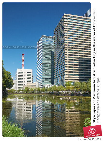 Skyscrapers of Marunouchi district reflecting in the water of Edo castle outer moat. Tokyo. Japan (2019 год). Стоковое фото, фотограф Serg Zastavkin / Фотобанк Лори