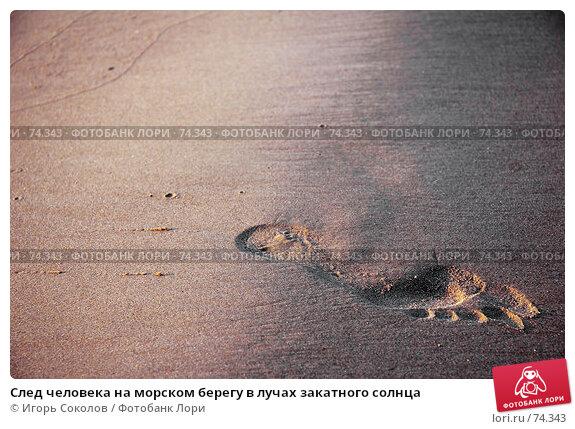 След человека на морском берегу в лучах закатного солнца, фото № 74343, снято 22 августа 2017 г. (c) Игорь Соколов / Фотобанк Лори