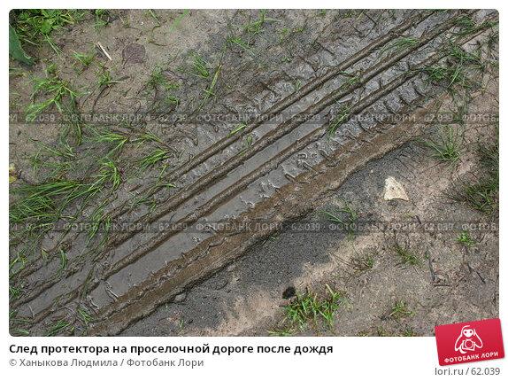 След протектора на проселочной дороге после дождя, фото № 62039, снято 15 июля 2007 г. (c) Ханыкова Людмила / Фотобанк Лори