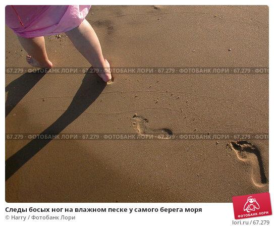 Следы босых ног на влажном песке у самого берега моря, фото № 67279, снято 25 июля 2005 г. (c) Harry / Фотобанк Лори